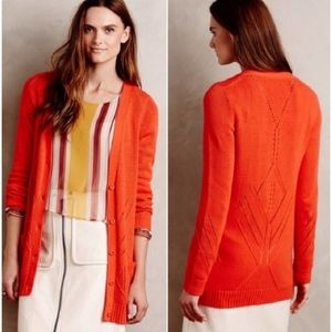 Anthropologie Moth Elin Orange Cardigan